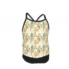 12 Woodland Animals Baby Animals In Forest Light Background Summer Two Piece Fashion Girl Swimsuit,Suitable for most girls aged 3-6.