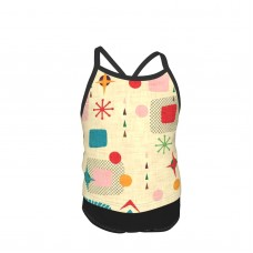 1950s Atomic Pattern Summer Two Piece Fashion Girl Swimsuit,Suitable for most girls aged 3-6.