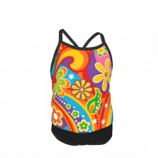 1960 Psychedelic Flower Power Summer Two Piece Fashion Girl Swimsuit,Suitable for most girls aged 3-6.