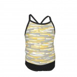 Colorful Stripes, Abstract Art, Yellow And Gray Summer Two Piece Fashion Girl Swimsuit,Suitable for most girls aged 3-6.
