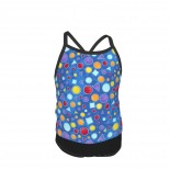 Wilmington Prints-Catmosphere-Circles & Triangles Blue Summer Two Piece Fashion Girl Swimsuit,Suitable for most girls aged 3-6.