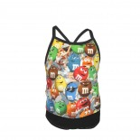 Multi-colored Chocolates Candy Anime Cartoon Summer Two Piece Fashion Girl Swimsuit,Suitable for most girls aged 3-6.