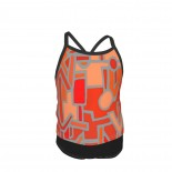 African BaKuba Scarlet Red Orange Gray Summer Two Piece Fashion Girl Swimsuit,Suitable for most girls aged 3-6.