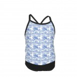 Alice In Wonderland Late For Tea! Nelson Blue And White Summer Two Piece Fashion Girl Swimsuit,Suitable for most girls aged 3-6.
