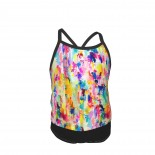 Bright Colorful Abstract Painting In Neons And Pastels Summer Two Piece Fashion Girl Swimsuit,Suitable for most girls aged 3-6.
