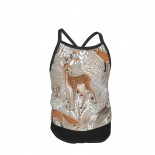 Brown-Forest-Animals Grey Summer Two Piece Fashion Girl Swimsuit,Suitable for most girls aged 3-6.