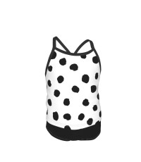 Dots And Spots Black And White Minimal Monochrome Dots Summer Two Piece Fashion Girl Swimsuit,Suitable for most girls aged 3-6.