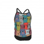 Fun Dog Pattern. Pet Illustration. Happy Animals. Pooch And Hound Design. Summer Two Piece Fashion Girl Swimsuit,Suitable for most girls aged 3-6.