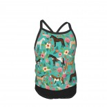 Horses Floral Horse Breeds Farm Animal Pets Summer Two Piece Fashion Girl Swimsuit,Suitable for most girls aged 3-6.