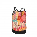 My Colorful Window View Summer Two Piece Fashion Girl Swimsuit,Suitable for most girls aged 3-6.