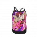 Naruto Sanin Gaara Summer Two Piece Fashion Girl Swimsuit,Suitable for most girls aged 3-6.