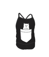 Pocket Middle Finger Cat Summer Two Piece Fashion Girl Swimsuit,Suitable for most girls aged 3-6.