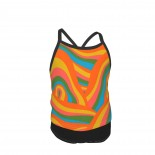 Psychedelic Abstract Pattern Summer Two Piece Fashion Girl Swimsuit,Suitable for most girls aged 3-6.