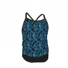 (small Scale) Octopus Watercolor Blue LAD19 Summer Two Piece Fashion Girl Swimsuit,Suitable for most girls aged 3-6.