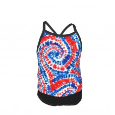 (small Scale) Red White And Blue Tie Dye LAD19BS Summer Two Piece Fashion Girl Swimsuit,Suitable for most girls aged 3-6.