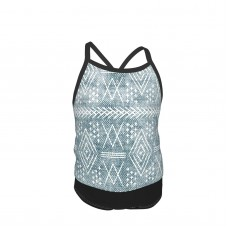 (small Scale) Vintage Moroccan Dusty Blue Summer Two Piece Fashion Girl Swimsuit,Suitable for most girls aged 3-6.