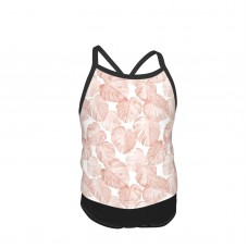 (small Scale) Watercolor Monstera Leaf Dusty Pink Summer Two Piece Fashion Girl Swimsuit,Suitable for most girls aged 3-6.