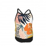 Tropical Foliage Natural Retro Boho Summer Two Piece Fashion Girl Swimsuit,Suitable for most girls aged 3-6.