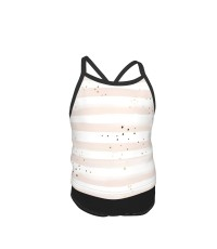 Watercolor Stripe + Gold Dots Blush Summer Two Piece Fashion Girl Swimsuit,Suitable for most girls aged 3-6.
